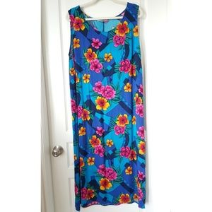 C.M. SHAPES Tropical Floral Sleeveless Dress 1X